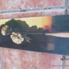 Varios objetos de Arte: CUADRO FLORES SOBRE MADERA 40X15 CMS. Lote 40059137