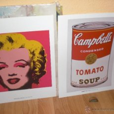 Varios objetos de Arte: 2 LAMINAS DE ANDY WARHOL -MARILYN MONROE Y SOPA CAMPBELL. Lote 40596406