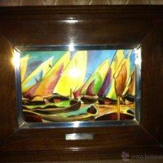 Varios objetos de Arte: ANTIGUO CUADRO DE ESMALTE Y PLATA DE LEY Y MADERA (SOROLLA). Lote 40851660