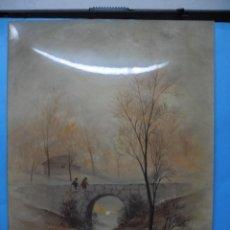 Varios objetos de Arte: LAMINA ESMALTADA SOBRE CHAPA - MA. PASCUAL - 24 X 18CM - PAISAJE DE NIÑOS SOBRE PUENTE. Lote 40857610
