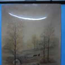 Varios objetos de Arte: LAMINA ESMALTADA SOBRE CHAPA - MA. PASCUAL - 24 X 18CM - PAISAJE PUENTE. Lote 40857620