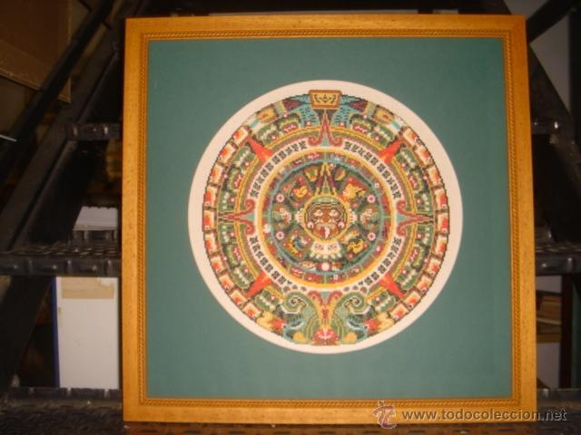 Calendario Azteca Bordado A Color Y Enmarcado Kaufen Andere