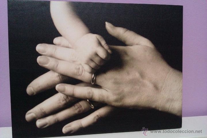 GRAN LOTE DE 4 CUADROS , LAMINAS FOTOGRAFICAS -LA FAMILIA- EN TELA SOBRE BASTIDOR DE MADERA (Arte - Varios Objetos de Arte)