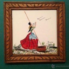 Varios objetos de Arte: DOS CUADROS AZULEJOS MARINERA /ARTESANAL DE DECORACIÓN FIRMADOS ORIGINAL. Lote 41530325