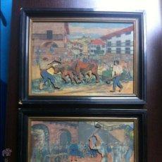 Varios objetos de Arte: ANTIGUA PAREJA DE CUADROS DE LA ESCUELA VASCA,SIGUIENDO MODELOS DE JOSÉ ARRUE.PINTADOS SOBRE MADERA.. Lote 41803035