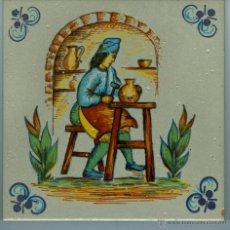 Varios objetos de Arte: BONITA BALDOSA AZULEJO DECORATIVA PINTADA A MANO. Lote 42845983