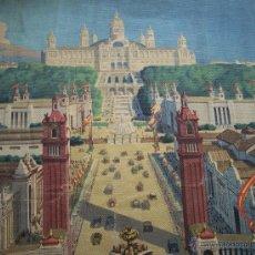 Varios objetos de Arte: BARCELONA MONTJUIC DESDE PLAZA ESPAÑA IMPRESO SOBRE TELA EXPO DE 1929 52 CM X 43 CM. Lote 42881122
