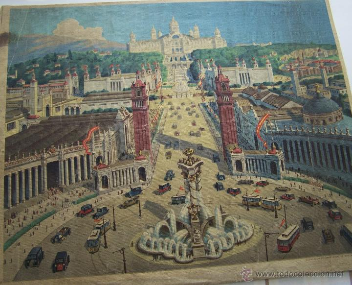 Varios objetos de Arte: Barcelona MONTJUIC desde PLAZA ESPAÑA impreso sobre TELA Expo de 1929 52 cm X 43 cm - Foto 2 - 42881122