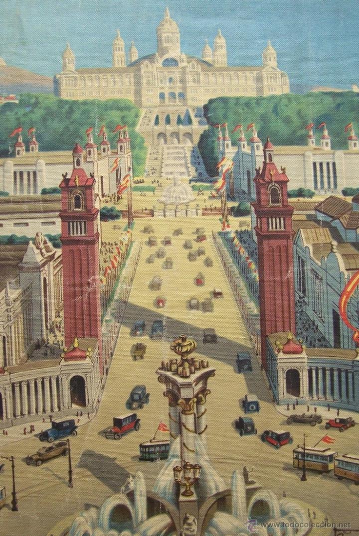 Varios objetos de Arte: Barcelona MONTJUIC desde PLAZA ESPAÑA impreso sobre TELA Expo de 1929 52 cm X 43 cm - Foto 3 - 42881122