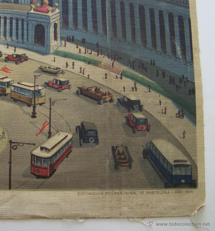 Varios objetos de Arte: Barcelona MONTJUIC desde PLAZA ESPAÑA impreso sobre TELA Expo de 1929 52 cm X 43 cm - Foto 5 - 42881122