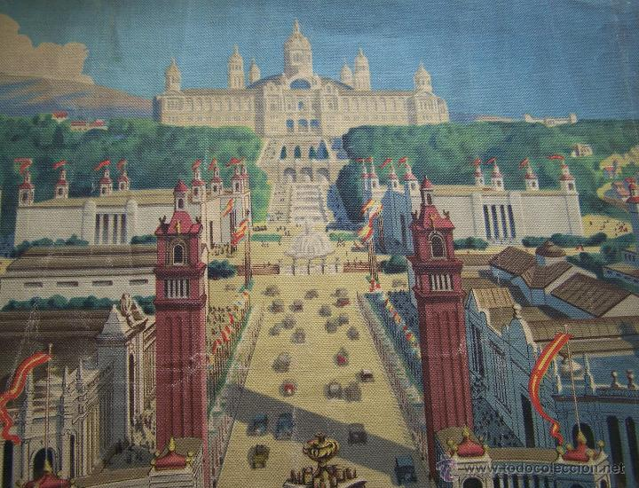Varios objetos de Arte: Barcelona MONTJUIC desde PLAZA ESPAÑA impreso sobre TELA Expo de 1929 52 cm X 43 cm - Foto 6 - 42881122