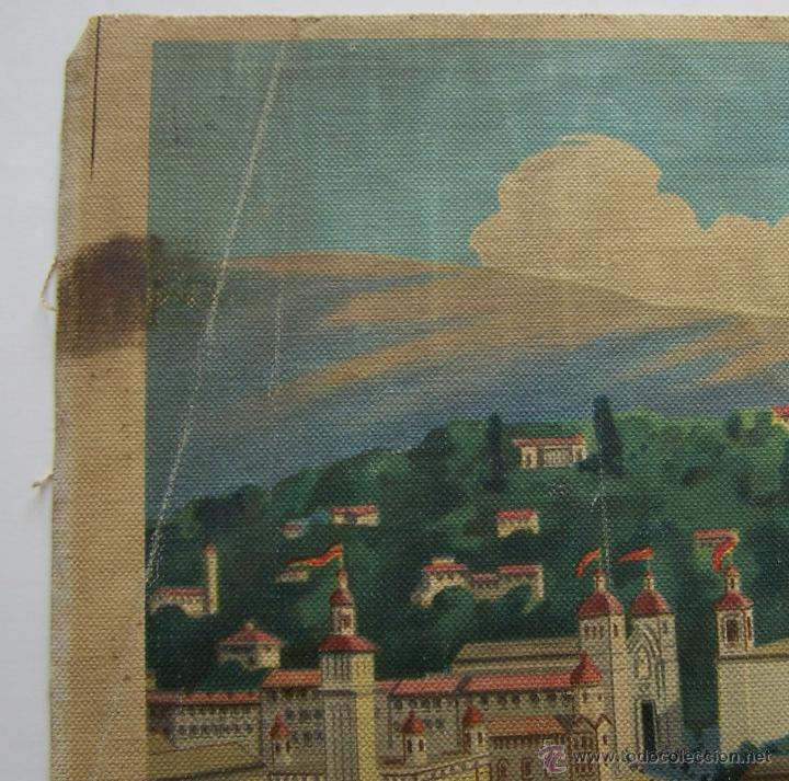 Varios objetos de Arte: Barcelona MONTJUIC desde PLAZA ESPAÑA impreso sobre TELA Expo de 1929 52 cm X 43 cm - Foto 7 - 42881122