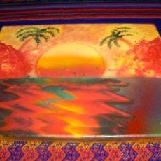 Varios objetos de Arte: LIENZO PINTADO CON ACUARELA Y ESPRAY POR LA ESCRITORA BEGOÑA SASTRE. 38X24 CMS.. Lote 43007624