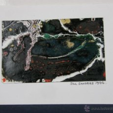 Varios objetos de Arte: TARJETA DIBUJO FIRMADO JILL SANDERS 1996 ESCRITA EN EL REVERSO SANTANDER 1997. Lote 43008530