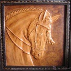 Varios objetos de Arte: BUSTO DE CABALLO EN CUERO. CORDOBAN REPUJADO. ARTESANAL Y UNICO. ESPECTACULAR. Lote 43220809