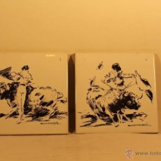 Varios objetos de Arte: PAREJA DE AZULEJOS CON DIBUJOS DE SANCHIS CORTES (1933). Lote 43333775