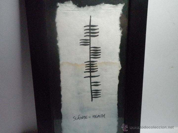 Varios objetos de Arte: CUADRO OGHAM SLAINTE-HEALTH ANTIGUA ESCRITURA IRLANDESA (SALUD) - Foto 2 - 43382174