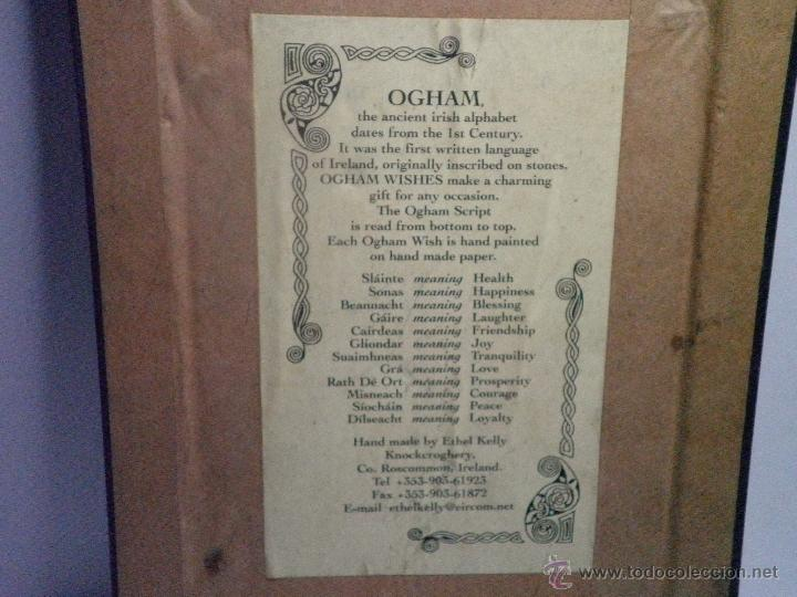Varios objetos de Arte: CUADRO OGHAM SLAINTE-HEALTH ANTIGUA ESCRITURA IRLANDESA (SALUD) - Foto 5 - 43382174