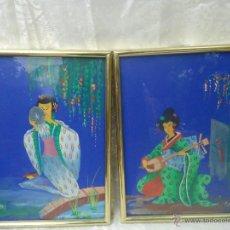 Varios objetos de Arte: PAREJA DE CUADROS PINTURA ACRÍLICA CON ESCENAS DE GEISHA. ARTE ASIATICO -DECORACIÓN ORIENTAL VINTAGE. Lote 43419978