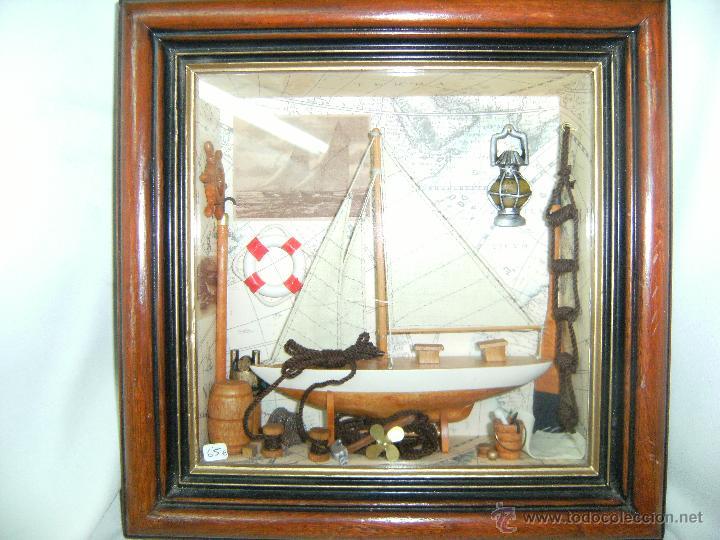 cuadro de barco con marco de madera - Comprar en todocoleccion ...