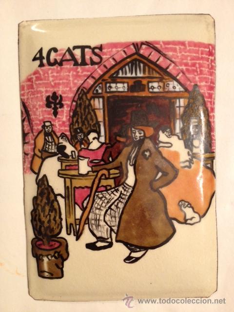4 GATS, ESMALTE SOBRE CHAPA, PABLO PICASSO, AÑOS 50-60 (Arte - Varios Objetos de Arte)