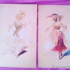 Varios objetos de Arte: FIGURINES ORIGINALES CON PEDRERIA DE EPOCA 1920 ACUARELAS. Lote 44581749