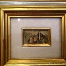 Varios objetos de Arte: CUADRO MINIATURA ITALIANO EN PLANCHA DE ORO DE 22 KILATES HECHO A MANO FIRMADO. Lote 44775257