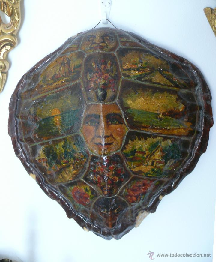 FABULOSO LOTE PINTURAS PAISAJES SOBRE CAPARAZON MUY ANTIGUO TORTUGA DE CAREY XVIII (Arte - Varios Objetos de Arte)