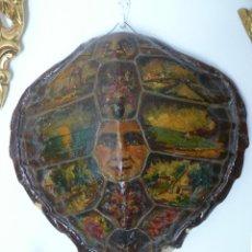 Varios objetos de Arte: FABULOSO LOTE PINTURAS PAISAJES SOBRE CAPARAZON MUY ANTIGUO TORTUGA DE CAREY XVIII. Lote 45070854