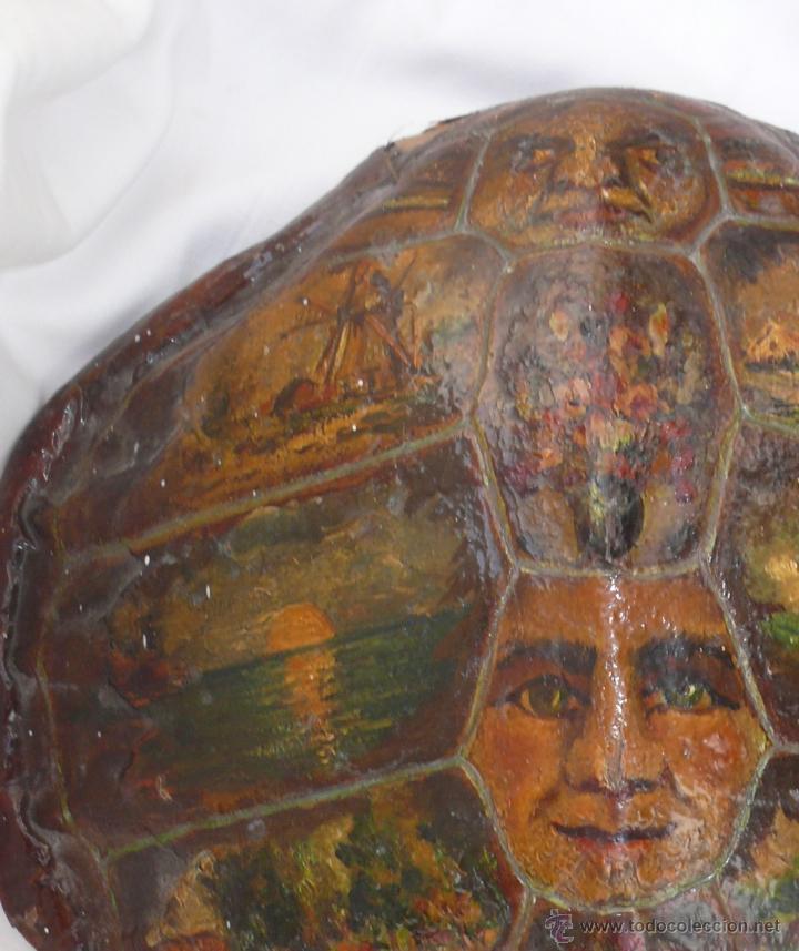 Varios objetos de Arte: FABULOSO LOTE PINTURAS PAISAJES SOBRE CAPARAZON MUY ANTIGUO TORTUGA DE CAREY XVIII - Foto 2 - 45070854