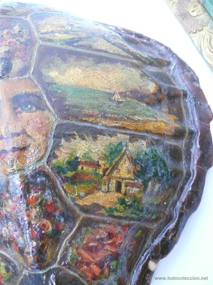 Varios objetos de Arte: FABULOSO LOTE PINTURAS PAISAJES SOBRE CAPARAZON MUY ANTIGUO TORTUGA DE CAREY XVIII - Foto 3 - 45070854
