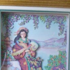 Varios objetos de Arte: PRECIOSO CUADRO GEISHA EN 3D . CAPAS SOBREPUESTAS. ENMARCADO.. Lote 45489007
