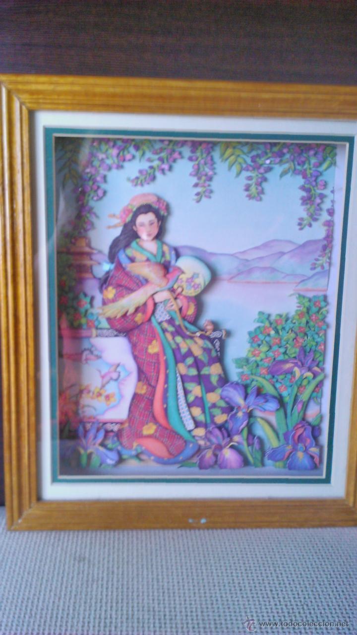 Varios objetos de Arte: Precioso cuadro Geisha en 3D . Capas sobrepuestas. Enmarcado. - Foto 2 - 45489007