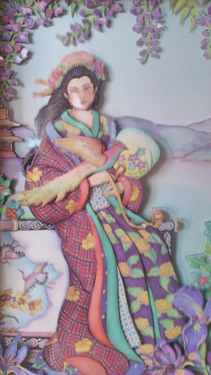Varios objetos de Arte: Precioso cuadro Geisha en 3D . Capas sobrepuestas. Enmarcado. - Foto 3 - 45489007