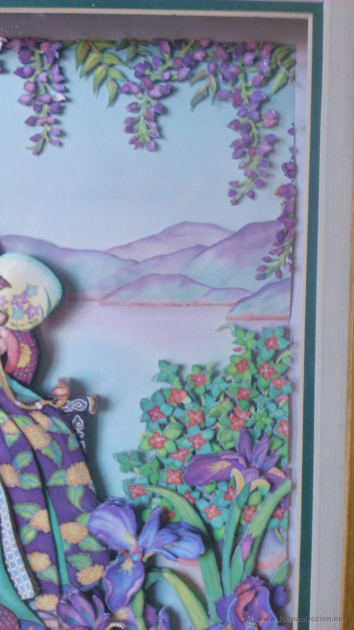 Varios objetos de Arte: Precioso cuadro Geisha en 3D . Capas sobrepuestas. Enmarcado. - Foto 4 - 45489007