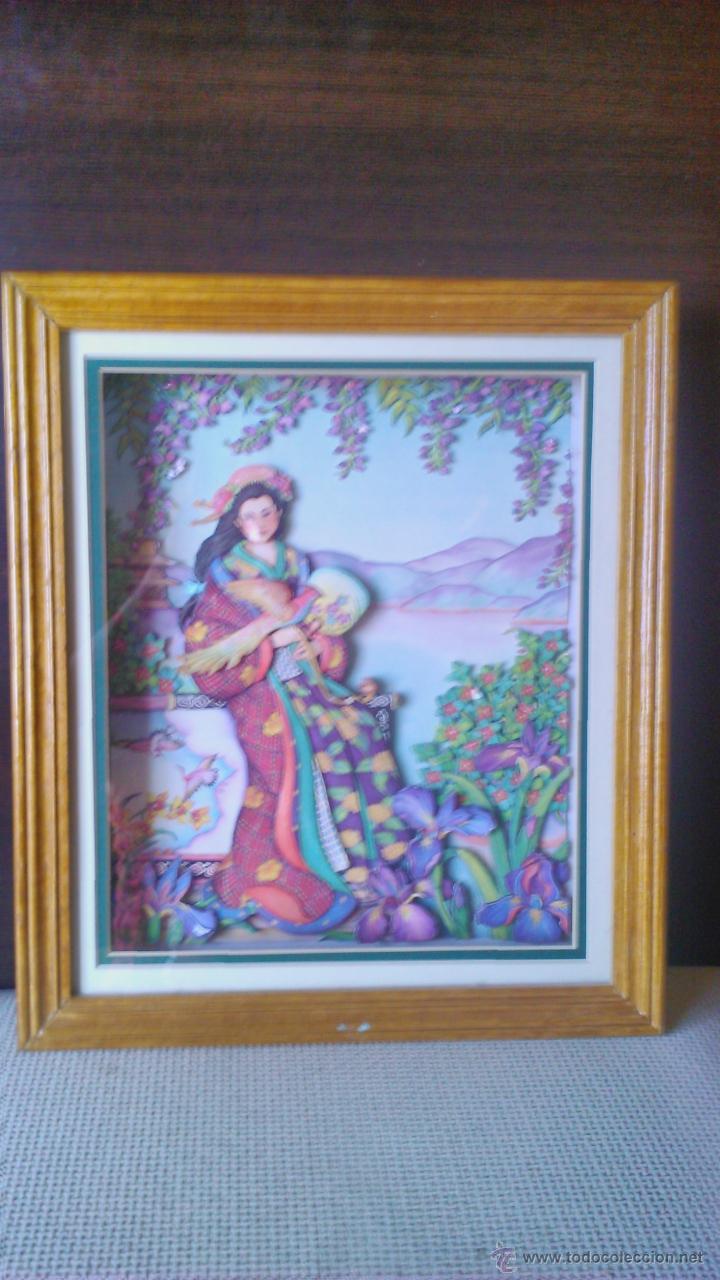 Varios objetos de Arte: Precioso cuadro Geisha en 3D . Capas sobrepuestas. Enmarcado. - Foto 7 - 45489007