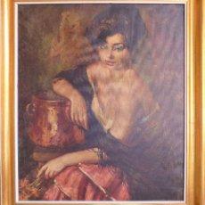 Varios objetos de Arte: TELA IMPRESA CON MUJER CON CÁNTARO DE FREIXAS VIVO.. Lote 45843723