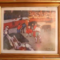 Varios objetos de Arte: LÁMINA CON MARCO CORRIDA DE TOROS DE PICASSO. Lote 45843765