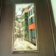 Varios objetos de Arte: ESMALTE FIRMADO POR UTRILLO, MARCO DE MADERA Y PLATA. Lote 46028398