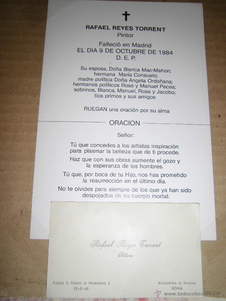 Varios objetos de Arte: autorretrato RAFAEL REYES TORRENT DIBUJO CARTA PINTOR pintura valenciana madrileña - Foto 3 - 46103017