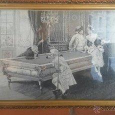 Varios objetos de Arte: ANTIQUE VICTORIAN FRENCH SILK TAPESTRY BILLIARD. PEREZ (1853-1930). HILO DE SEDA DE LYON. Lote 46112597
