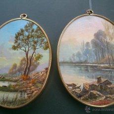 Varios objetos de Arte: CUADRO IMPRESO Y BARNIZADO ENMARCADO; OVALADO, CANTO DORADO.. Lote 46390312