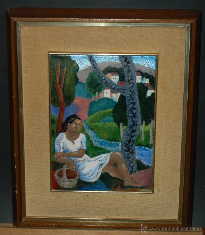 MONTSERRAT MAINAR BENEDICTO (BARCELONA, 1928) ESMALTE. ALEGORÍA A LA PRIMAVERA (Arte - Varios Objetos de Arte)