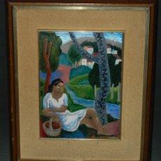 Varios objetos de Arte: MONTSERRAT MAINAR BENEDICTO (BARCELONA, 1928) ESMALTE. ALEGORÍA A LA PRIMAVERA. Lote 46395529