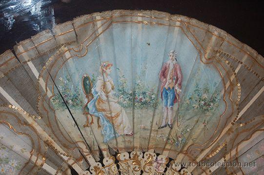 Varios objetos de Arte: Precioso Abanico Isabelino - Varillaje en Marfil y Hueso - País en Seda - Con Abaniquera - S. XIX - Foto 6 - 157318229
