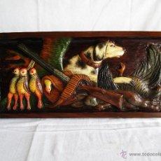 Varios objetos de Arte: CUADRO TALLADO EN TABLA DE MADERA TEMA DE CAZA 72 CM X 32 CM. Lote 94692727