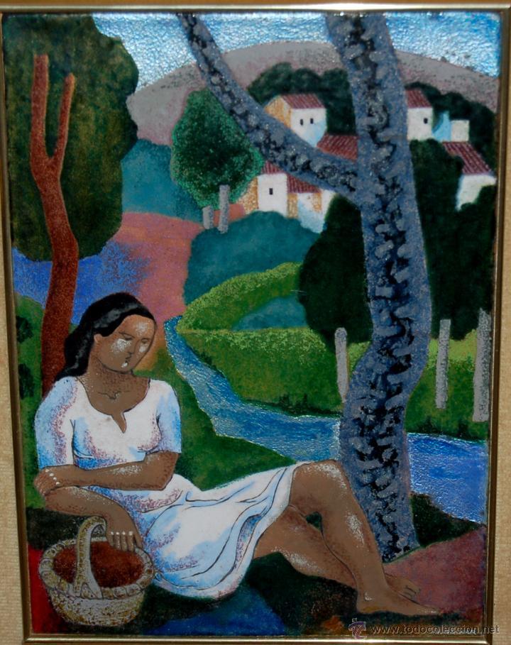 Varios objetos de Arte: MONTSERRAT MAINAR BENEDICTO (Barcelona, 1928) ESMALTE. ALEGORÍA A LA PRIMAVERA - Foto 11 - 46395529