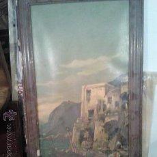 Varios objetos de Arte: CUADRO ANTIGUA LAMINA DETERIORADA MARCO A RESTAURAR. Lote 46783879