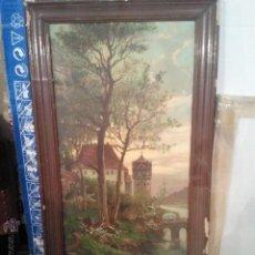 Varios objetos de Arte: CUADRO ANTIGUA LAMINA DETERIORADA MARCO A RESTAURAR. Lote 46783888