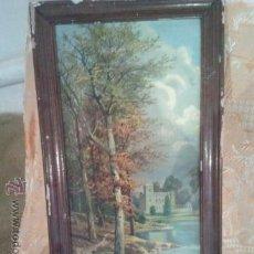 Varios objetos de Arte: CUADRO ANTIGUA LAMINA DETERIORADA MARCO A RESTAURAR. Lote 46783918